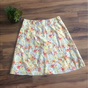 Express Yellow & Orange Floral Print A-Line Skirt